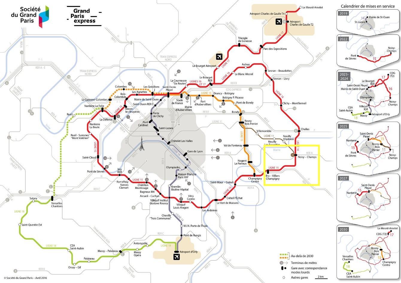 Carte des futurs lignes du métro et du RER à Marne-La-Vallée